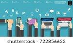 businessman hand and watch... | Shutterstock .eps vector #722856622