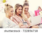 three beautiful young women...   Shutterstock . vector #722856718
