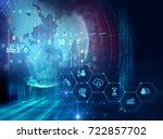 blue financial technology... | Shutterstock . vector #722857702