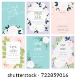 wedding invitation card set... | Shutterstock .eps vector #722859016