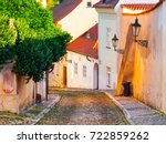 old medieval narrow cobbled... | Shutterstock . vector #722859262