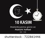 ataturk death anniversary.... | Shutterstock .eps vector #722861446