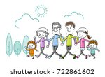 family  exercise  sports ... | Shutterstock .eps vector #722861602