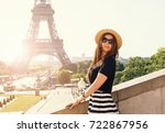 portrait of young stylish woman ...   Shutterstock . vector #722867956
