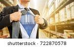 businessman with barcode reader ... | Shutterstock . vector #722870578
