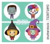 cute halloween characters... | Shutterstock .eps vector #722871892