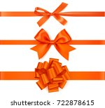 set of decorative orange bows... | Shutterstock .eps vector #722878615