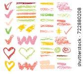 set of chalk vector textures....   Shutterstock .eps vector #722880208