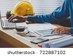 businessman hand working with... | Shutterstock . vector #722887102