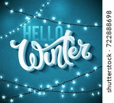 hello winter poster with... | Shutterstock . vector #722888698