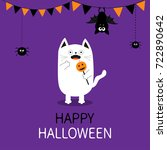 spooky frightened cat holding... | Shutterstock . vector #722890642