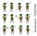 set of halloween zombie...   Shutterstock .eps vector #722891602