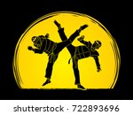 taekwondo fighting designed on... | Shutterstock .eps vector #722893696