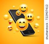 emoji happy smiley design with... | Shutterstock .eps vector #722907412