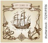 happy columbus day illustration....   Shutterstock .eps vector #722919556