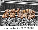 shish kebab on skewers. concept ... | Shutterstock . vector #722923282