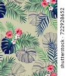 seamless hand drawn  exotic... | Shutterstock .eps vector #722928652