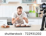 young blogger recording video... | Shutterstock . vector #722931202