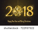 2018 happy new year holiday... | Shutterstock . vector #722937322