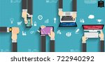 businessman hand and watch... | Shutterstock .eps vector #722940292