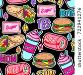 fast food seamless pattern.... | Shutterstock .eps vector #722941276