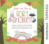 baby shower card with forest... | Shutterstock .eps vector #722941312