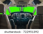 cockpit airplane no pilot with... | Shutterstock . vector #722951392