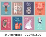 christmas animals card set ... | Shutterstock .eps vector #722951602