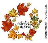 wreath of autumn leaves. hand... | Shutterstock .eps vector #722968636