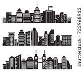 cityscape silhouette or city... | Shutterstock .eps vector #722968912