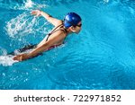 swimmers are swimming ... | Shutterstock . vector #722971852