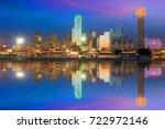 dallas skyline reflected in... | Shutterstock . vector #722972146