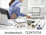 businesswoman with pain in back | Shutterstock . vector #722975755