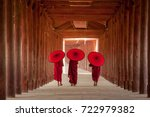 Myanmar Novice Monk Walking...