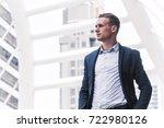 portrait of handsome man in... | Shutterstock . vector #722980126