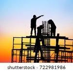 silhouette construction team... | Shutterstock . vector #722981986