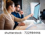 software engineers working on... | Shutterstock . vector #722984446