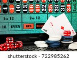 dice  playing cards and chips... | Shutterstock . vector #722985262