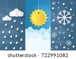 origami made collection of ... | Shutterstock .eps vector #722991082