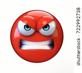 Angry Emoji Isolated On White...