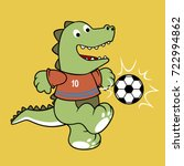 dino soccer player  vector... | Shutterstock .eps vector #722994862