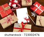 christmas decorations and gift... | Shutterstock . vector #723002476