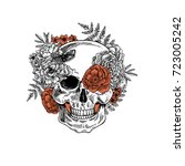 tattoo anatomy vintage floral... | Shutterstock .eps vector #723005242