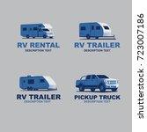 set of monochrome camper van... | Shutterstock .eps vector #723007186