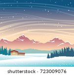 winter night landscape with... | Shutterstock .eps vector #723009076