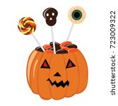bowl for sweets on halloween in ... | Shutterstock .eps vector #723009322
