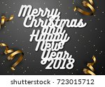 happy new year 2018. white... | Shutterstock .eps vector #723015712