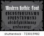 vector modern gothic alphabet... | Shutterstock .eps vector #723015982