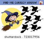 cute little witch girl with... | Shutterstock .eps vector #723017956