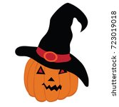 halloween pumpkin with witch... | Shutterstock .eps vector #723019018